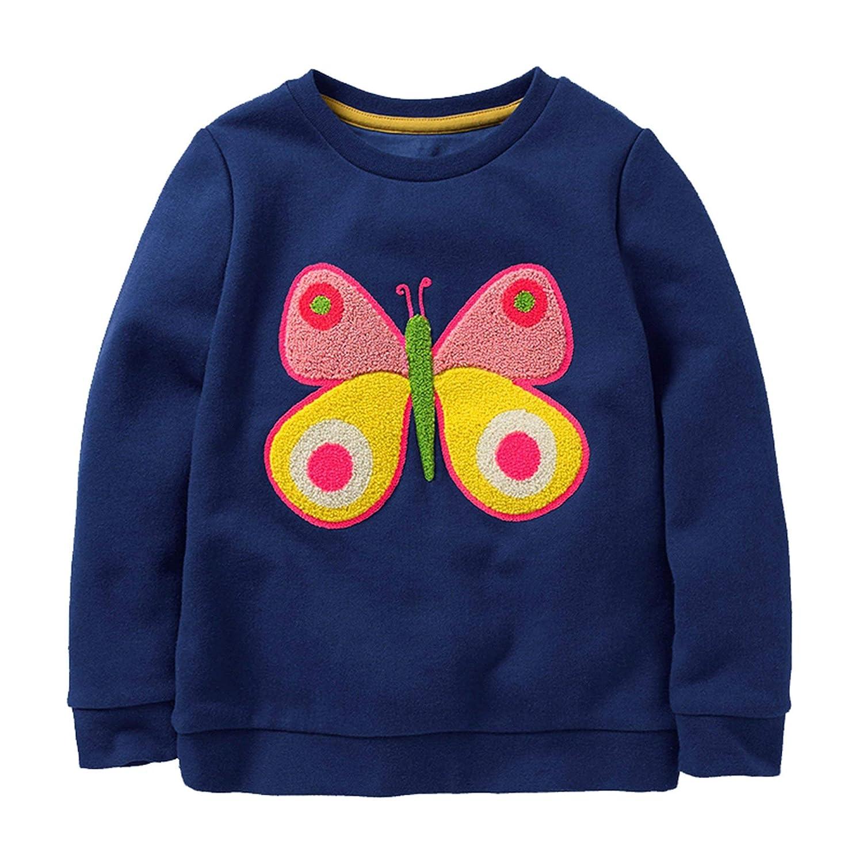 1efa45a79 Amazon.com: HUAER& Baby Girl Cotton Long Sleeved Pullover Sweatshirt:  Clothing