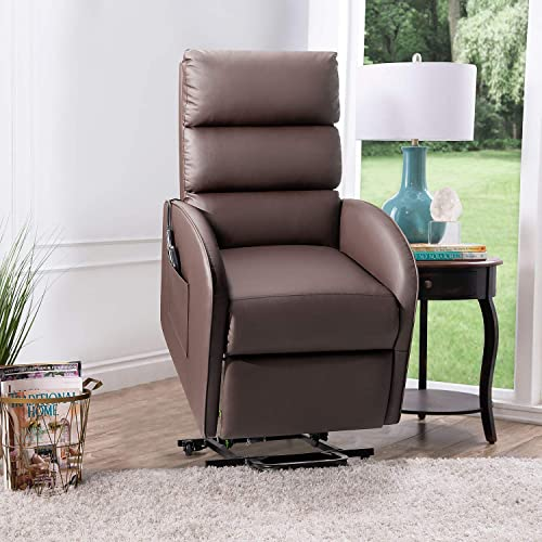 Flamaker Power Lift Recliner Chair for The Elders PU Leather with Lumbar Massage Modern Style Sofa Chair with Side Pocket Single Lounge Chair for Living Room Home Theater Seating Brown