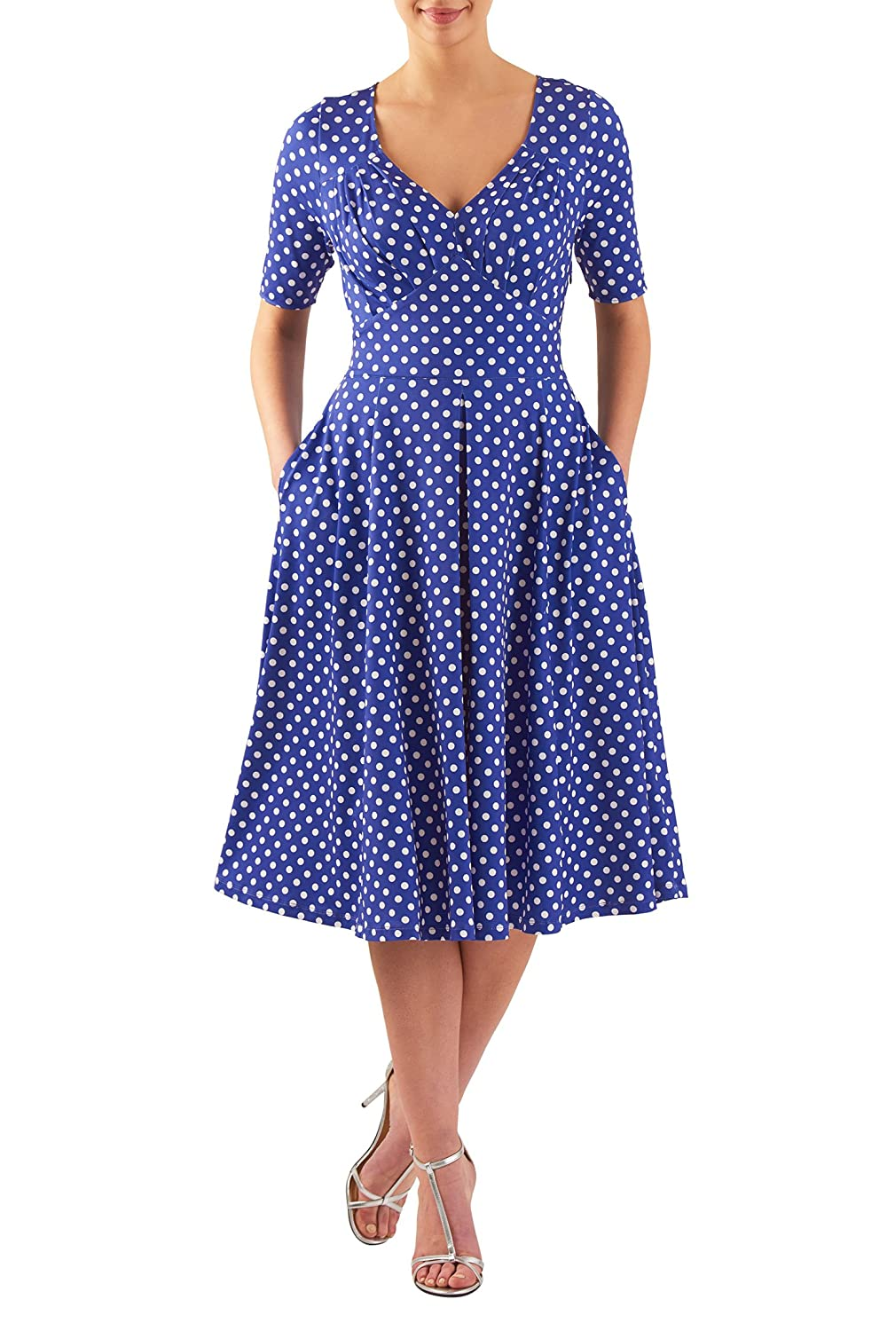 Vintage Polka Dot Dresses – Ditsy 50s Prints eShakti Womens Feminine pleated polka dot polyjersey dress $58.95 AT vintagedancer.com