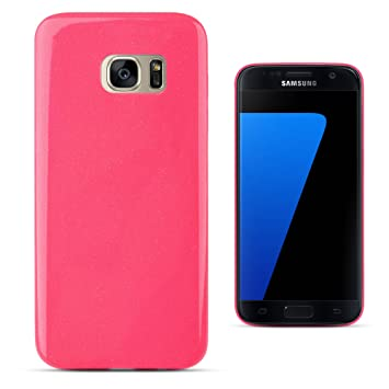 f33d85661 Moozy® World's thinnest Ultra slim Candy Shine Jelly silicone phone Case /  cover for Samsung Galaxy S7 Edge / G935F with glitter, Neon pink:  Amazon.co.uk: ...