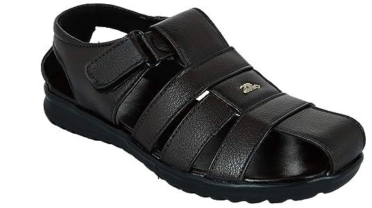 LAVISTA Men's Skin Friendly Genuine Leather Brown Black Colour Outdoor Formal Casual Sandals Men's Fashion Sandals at amazon