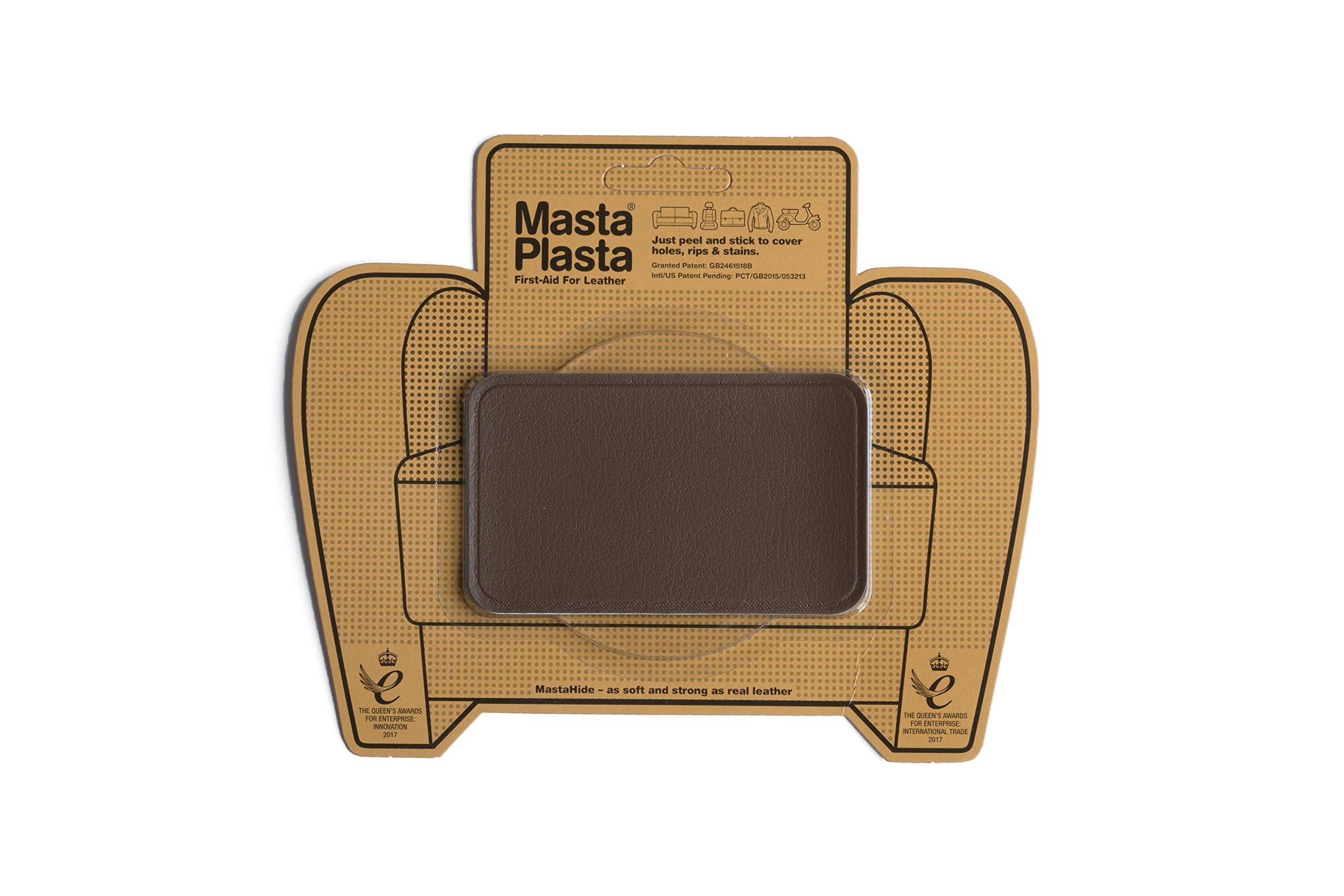MastaPlasta, Leather Repair Patch, First-Aid for Sofas, Car Seats, Handbags, Jackets, Plain, Mid Brown Medium Stitch 4''x2.4''