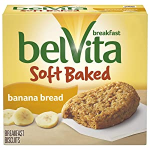 belVita Soft Baked Breakfast Biscuits, Banana Bread Flavor, 5 Packs (1 Biscuit Per Pack)