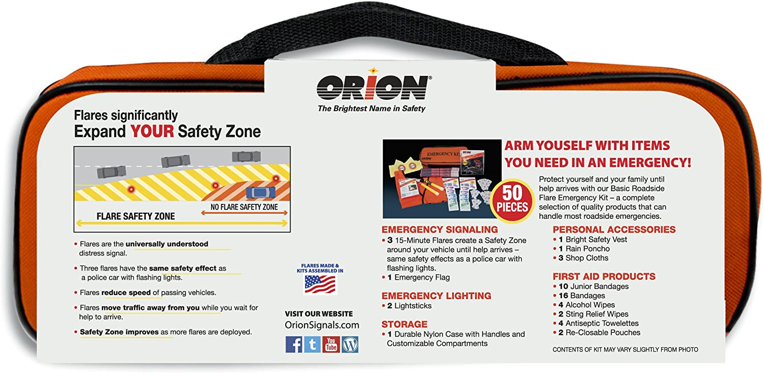 Orion 8906 50 Piece Basic Roadside Flare Emergency Kit