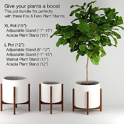 Set of 2-12 and 14.5 blanco mate Ajuste perfecto medio siglo moderno soporte para plantas tap/ón de drenaje Fox /& Fern Macetas para plantas
