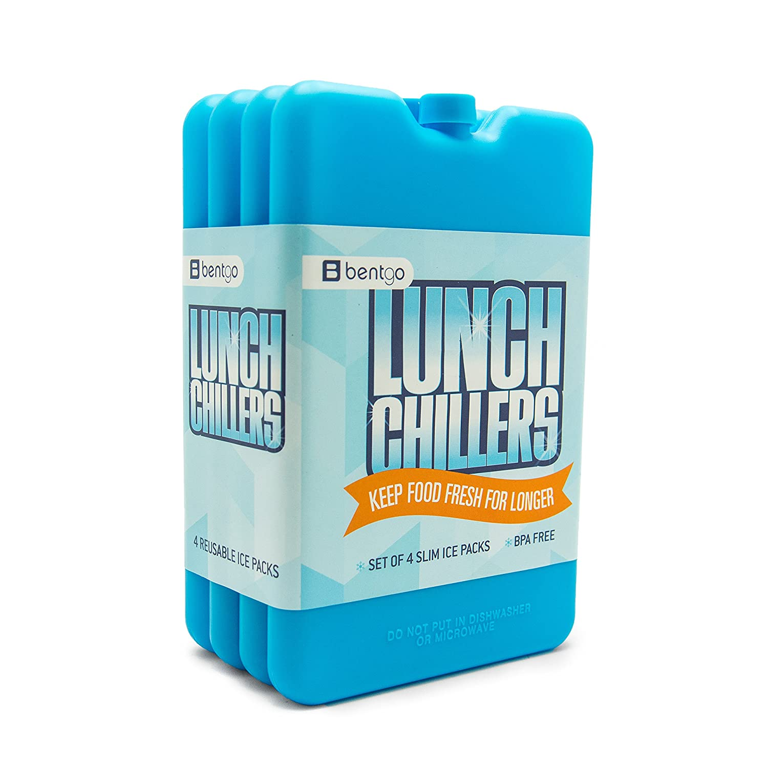 Bentgo Ice Lunch Chillers Ultra-thin Ice Packs (4 Pack - Blue) BGOICE-B