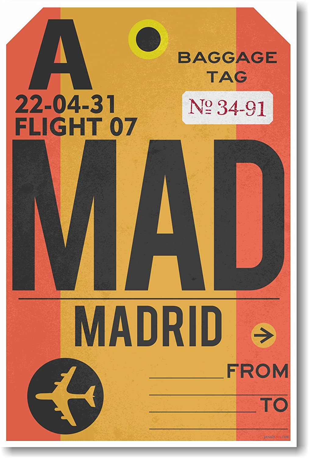 Amazon.com: Mad – Aeropuerto de Madrid Tag – Nuevo Cartel de ...