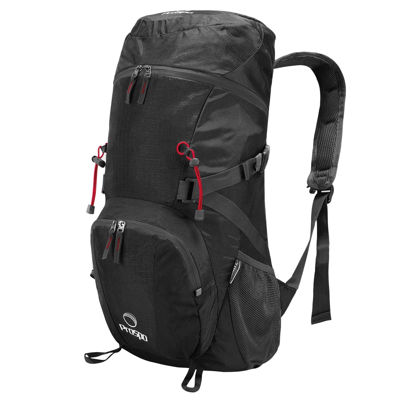 Prospo Large Shoulder Packable Backpack Travel Daypack Foldable Lightweight Bag 40L Hiking Camping(Black)