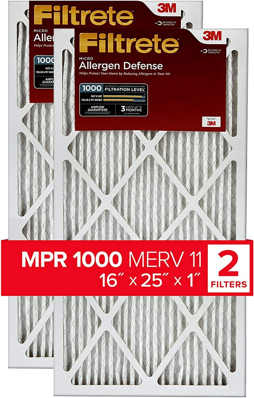 Filtrete ADP03-2PK-LT 2-Pack 1000 MPR Micro Allergen 16-in x 25-in x 4-in Electrostatic Pleated Air Filter