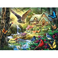 Bits and Pieces - 1000 Piece Jigsaw Puzzle for Adults - Forest Cottage - 1000 pc Owl and Butterfly Jigsaw by Artist Larry Jones