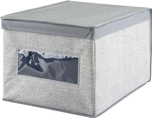 InterDesign Aldo Caja con Tapa, Tela, Gris, 39.37x29.84x24.77 cm: Amazon.es: Hogar
