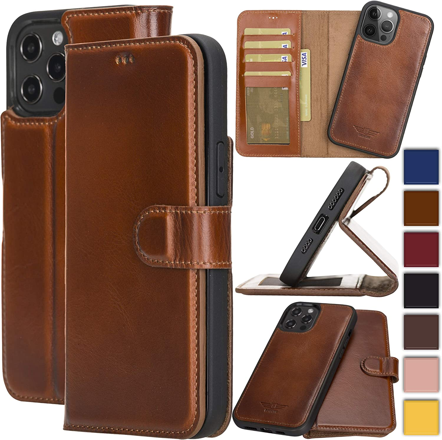 Bayelon Genuine Leather Wallet Case for iPhone 12 Pro Max 6.7