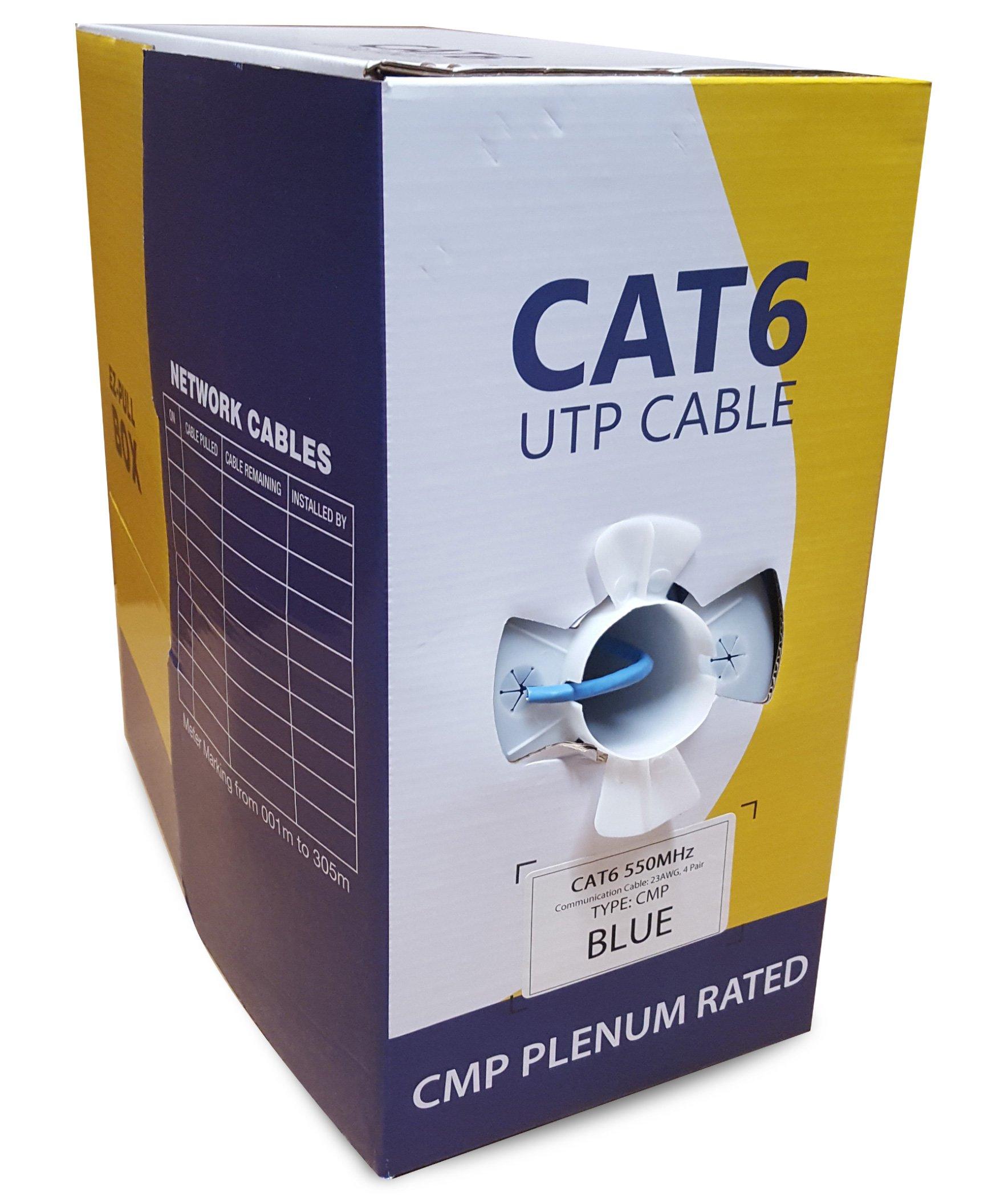 Cat6 Plenum 1000ft Solid UTP Bulk 550MHz CMP Ethernet Networking Cable Blue EfficientCables