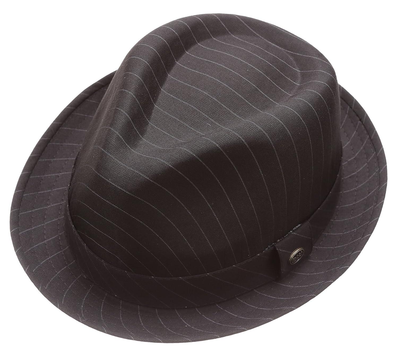 MIRMARU Men s Classic Trilby Striped Short Brim Fedora Hat with Band ... ad1c6cb49923