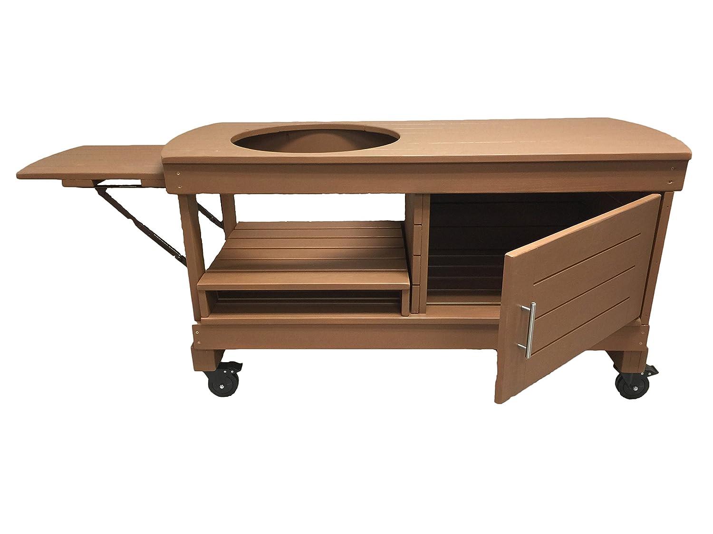 J S Designs Shop, LLC Big Green Egg Cabinet Table for Extra Large BGE with Free Drop Leaf Shelf