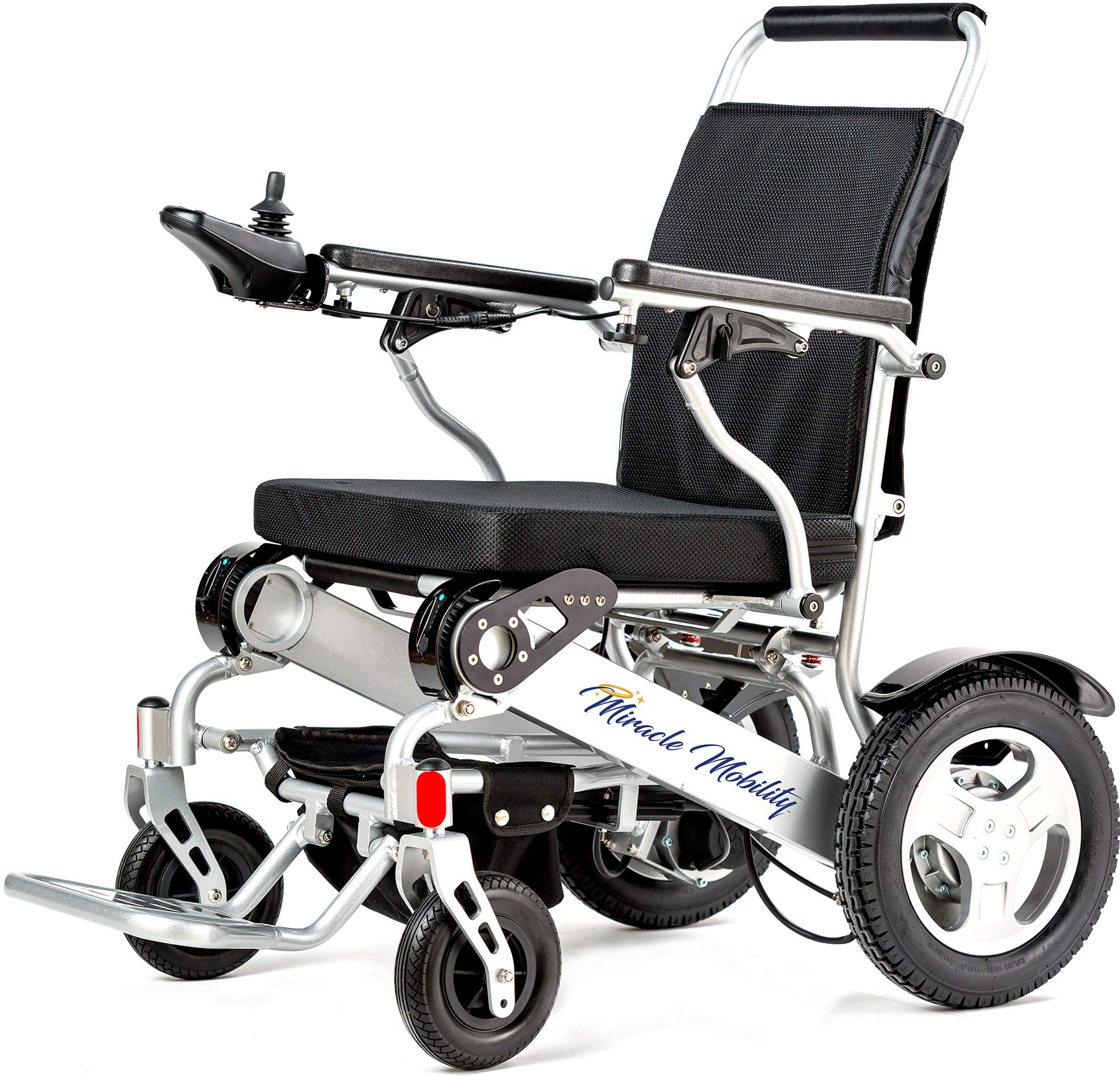 Miracle Mobility Freedom Series Gold XL Electric Folding Mobility Wheelchair with Two 250W Motors and Two 24V, 144Wh Lithium Ion Batteries, Silver by Miracle Mobility