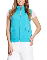 Xfore Sudadera de Golf sin Mangas, Cristales, Bordado para Mujer, Redondo, de Color Turquesa
