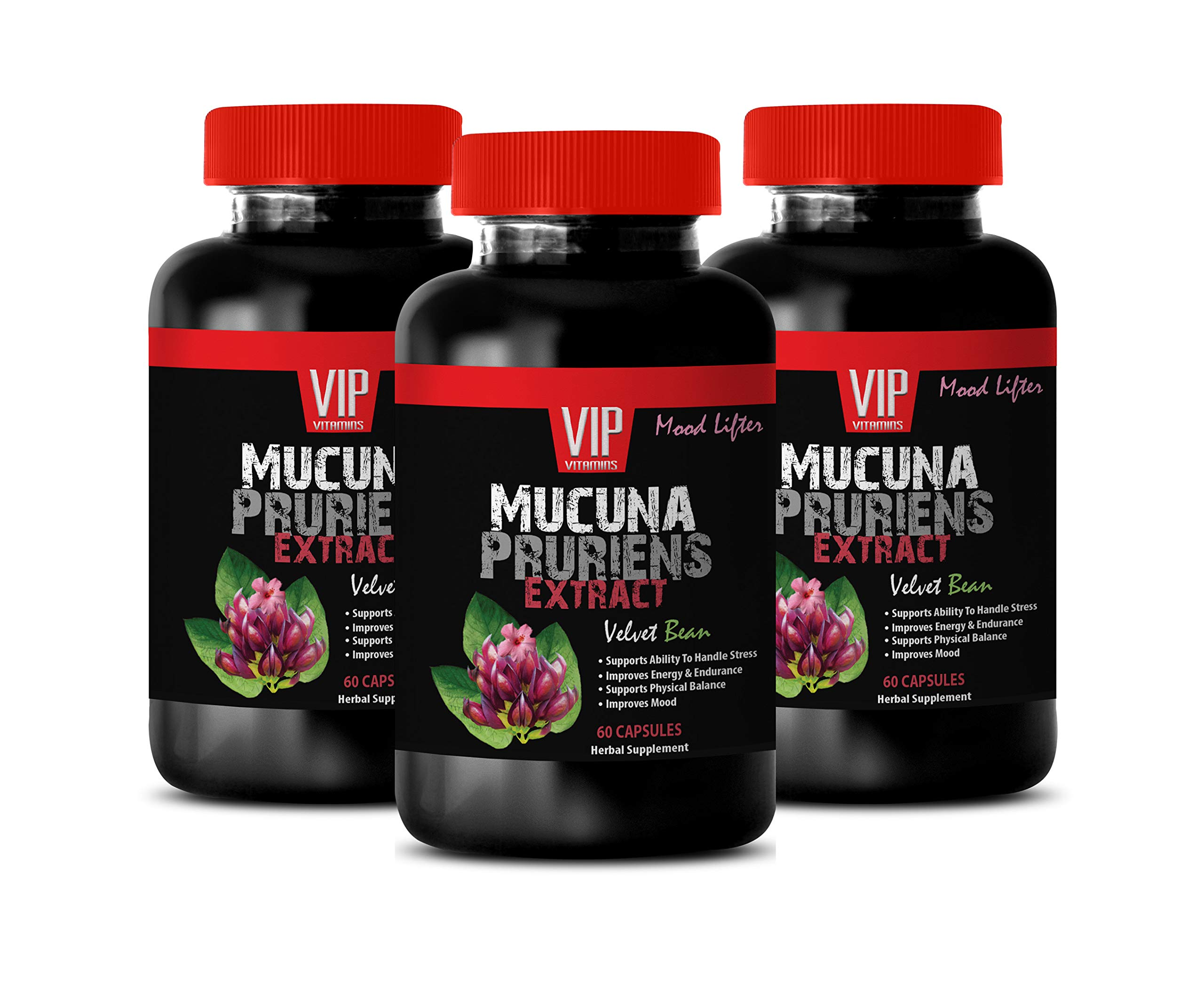 Brain and Memory Supplements - MUCUNA PRURIENS Extract 350 MG - antioxidant Vitamins for Men - 3 Bottles 180 Capsules