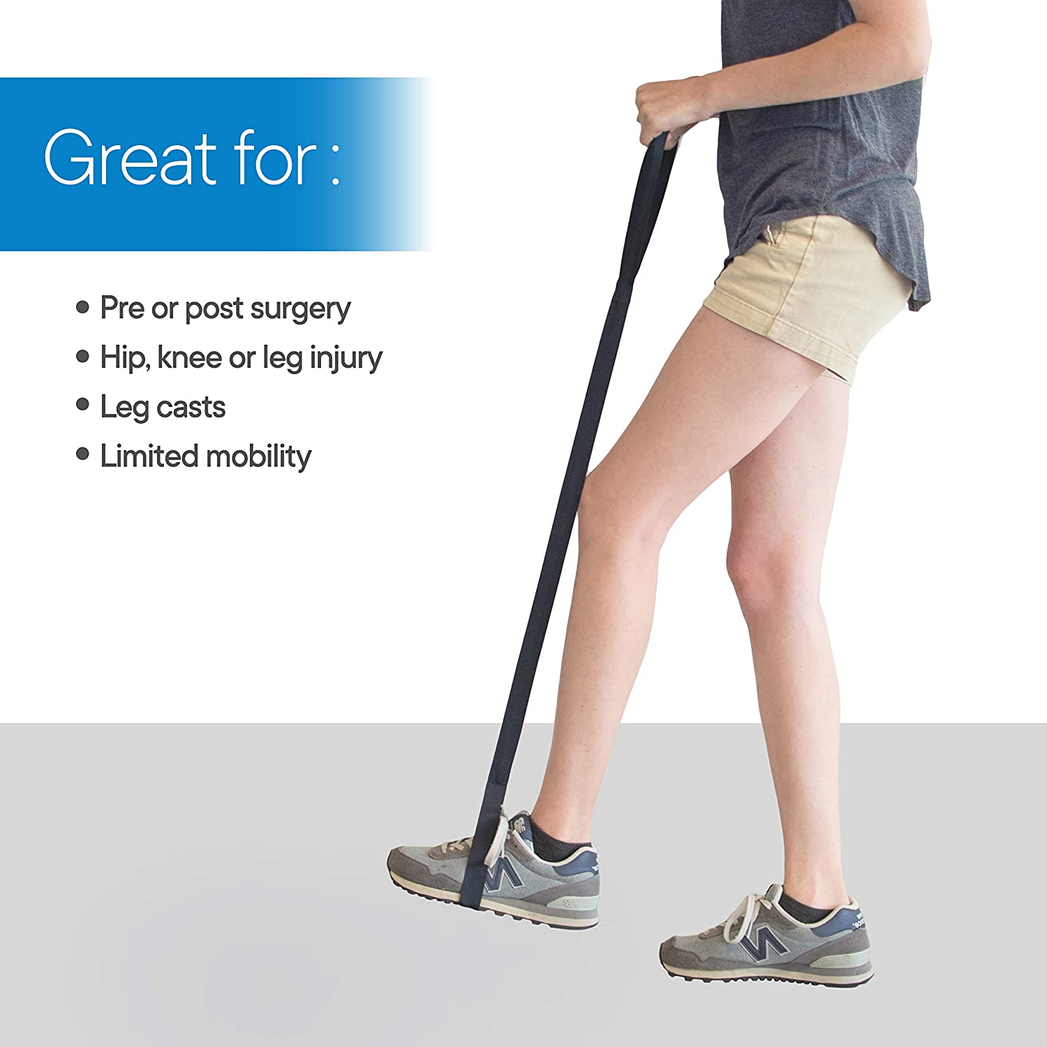RMS 42 Inch Long Leg Lifter - Durable & Rigid Hand Strap & Foot Loop - Ideal Mobility Tool for Wheelchair, Hip & Knee Replacement Surgery (42 Inch Long): Health & Personal Care