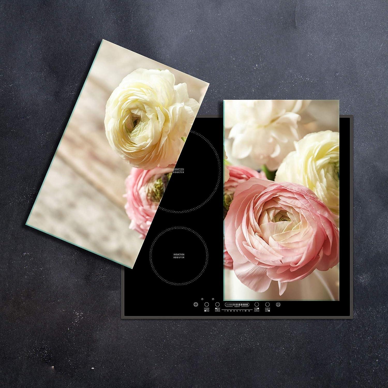 Herdabdeckplatte 2 teilig Ceranfeld Rosen Pink 2x30x52 Kochplatten Glas K/üche