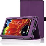 "ACdream RCA Voyager 7 Case, Folio Premium PU Leather Cover Case for RCA Voyager (2016, 2017) / RCA Voyager II/RCA Voyager III RCA/RCA Voyager Pro 7"" Android Tablet, Dark Purple"