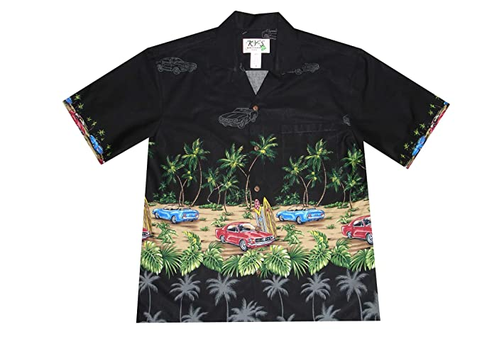 d9394079 KYS Vintage Hawaiian Aloha Shirt Car Print Palm Trees at Amazon Men's  Clothing store:
