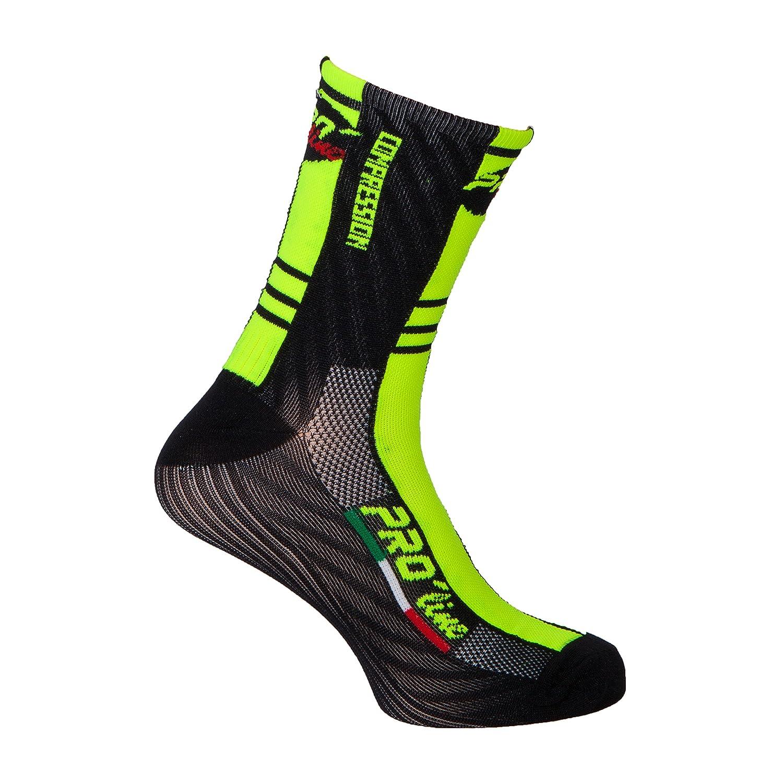 Pro-Line F Compression Cycling Socks - Calcetines de ciclismo, color amarillo y negro, 1 par, talla única PRO' line