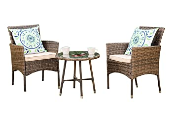 Round Coffee Table With Chairs.Yakoe Eton Range Bistro Set Garden Furniture Patio Sofa Chairs And Round Coffee Table Set For Outdoor Or Conservatory Brown 3 Piece