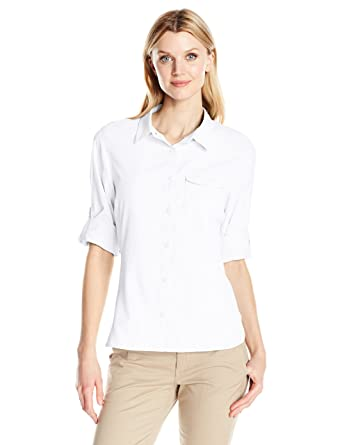 Columbia Camisa de manga larga East Ridge Ii para mujer, blanca, X-Small