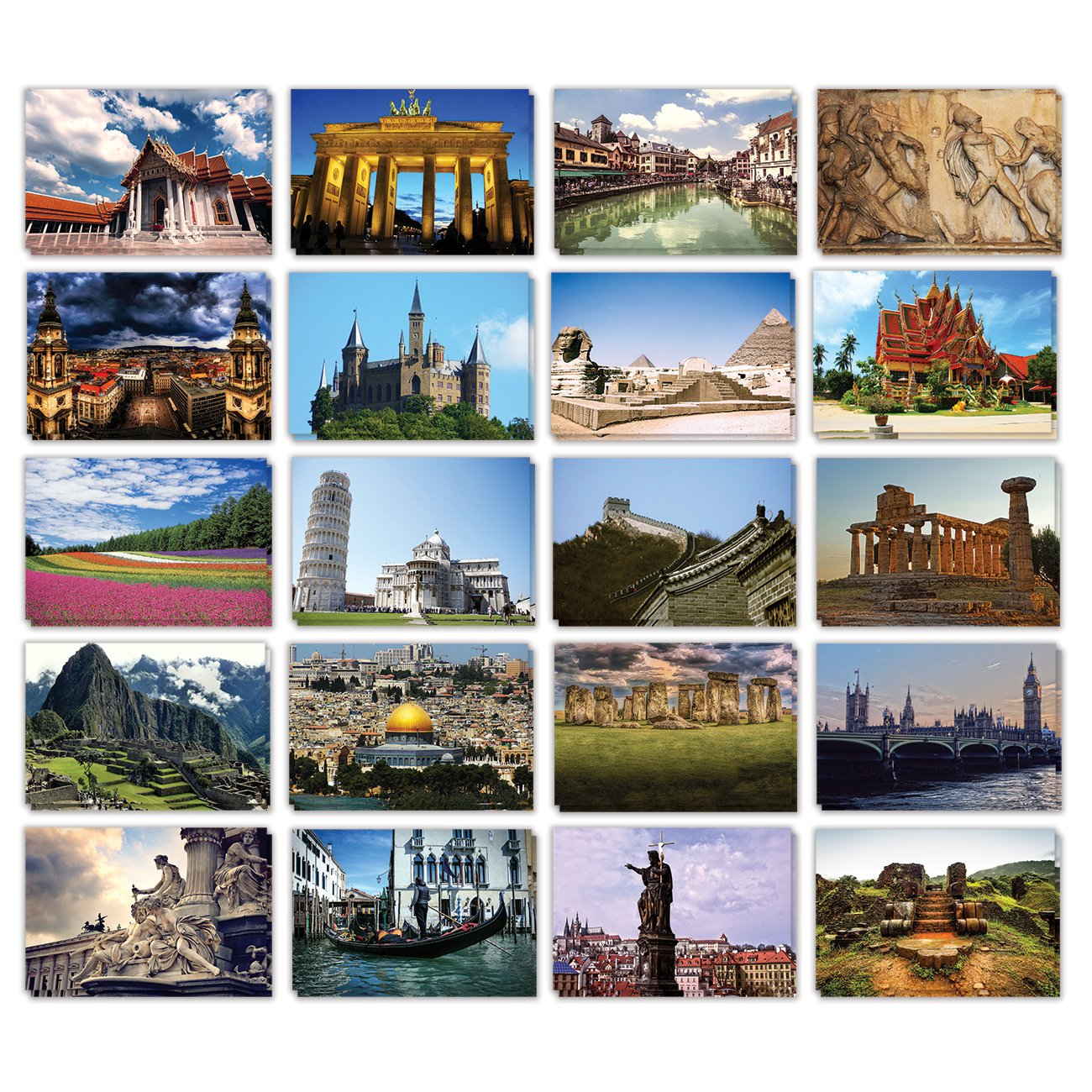 Assorted Postcards for All Occasions with Envelopes, Around the World (6 x 4 In, 40 Pack)