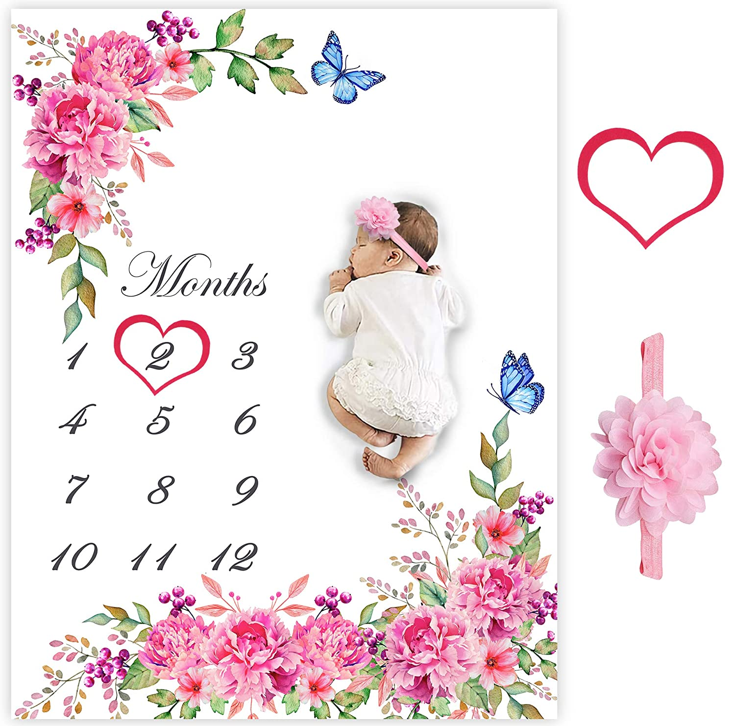 Growth Tracker Navy and Pink Wreath Track Growth and Age New Mom Baby Shower Gift Baby Milestone Blanket Girl Personalized Baby Blanket
