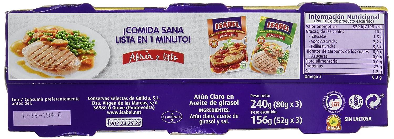 Isabel Atún Claro en Aceite de Girasol - Pack de 3 x 80 g - Total: 240 g: Amazon.es: Amazon Pantry