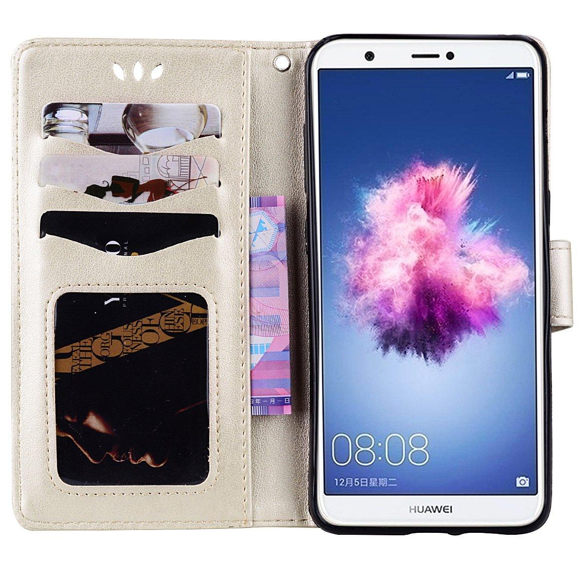 Lspcase Custoia Huawei P Smart Huawei Enjoy 7S Diamante Bling Portafoglio Cuoio di PU Pelle Flip Libro AntiGraffio Caso Cover Case per Huawei P Smart//Enjoy 7S Modello di Fiore Farfalla Oro