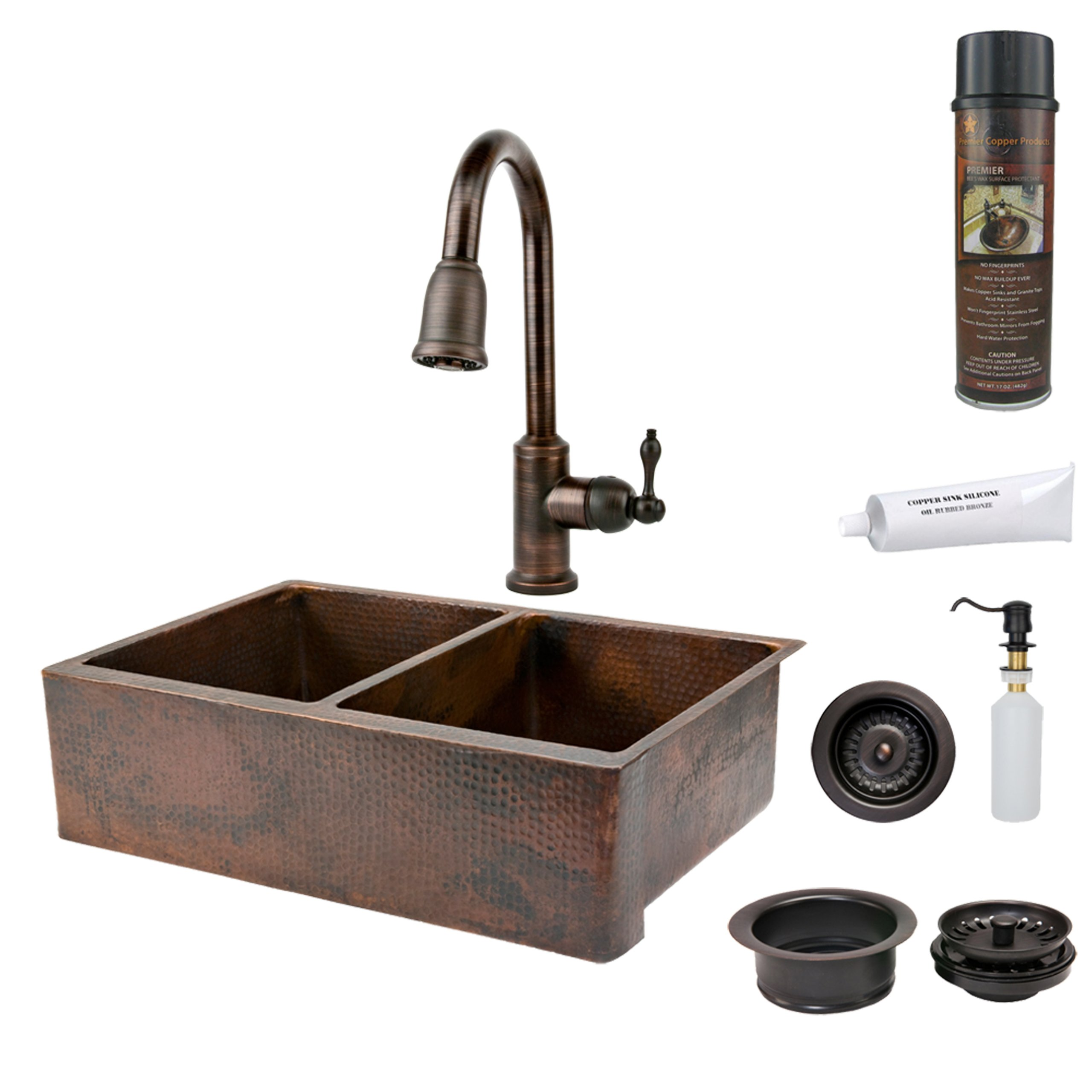 Premier Copper Products KSP2_KA50DB33229 33-Inch Hammered Copper Kitchen Apron 50/50 Double Basin Sink with Pull Down Faucet, Oil Rubbed Bronze
