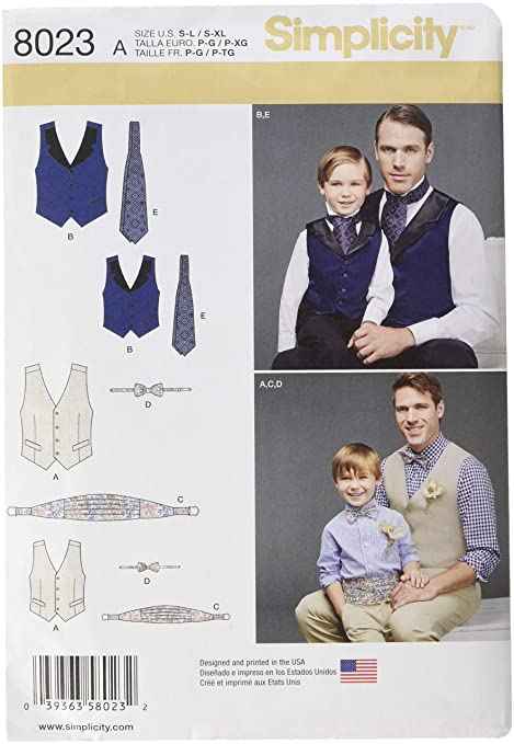 Simplicity Sewing Pattern 8023a Boys And Mens Vest Bow Tie Cummerbund And Ascot Paper White A Sls Xl