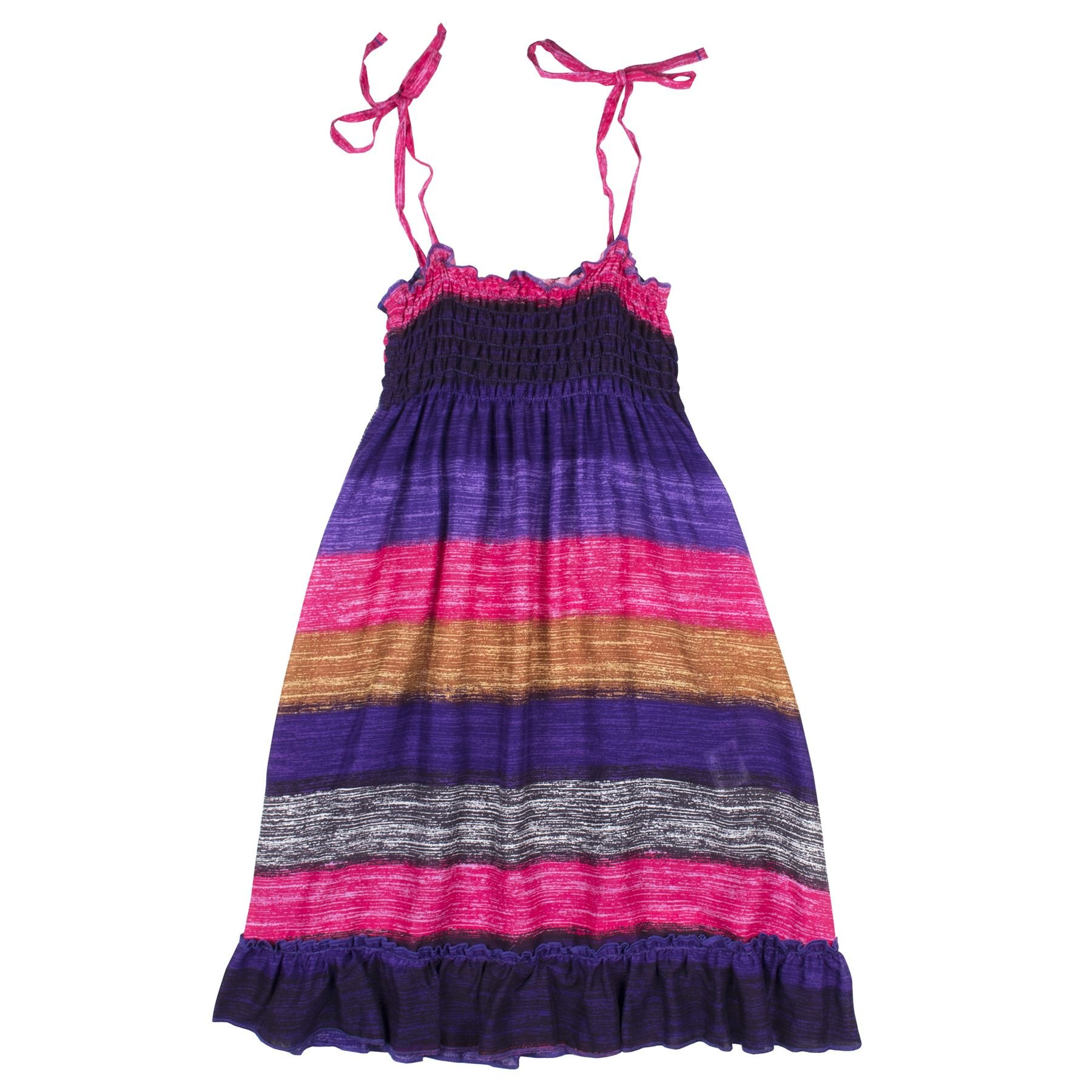 Lofbaz Girls' Long Casual Beach Dress Thick Stripes Peacock 1 Pink 4/5Y