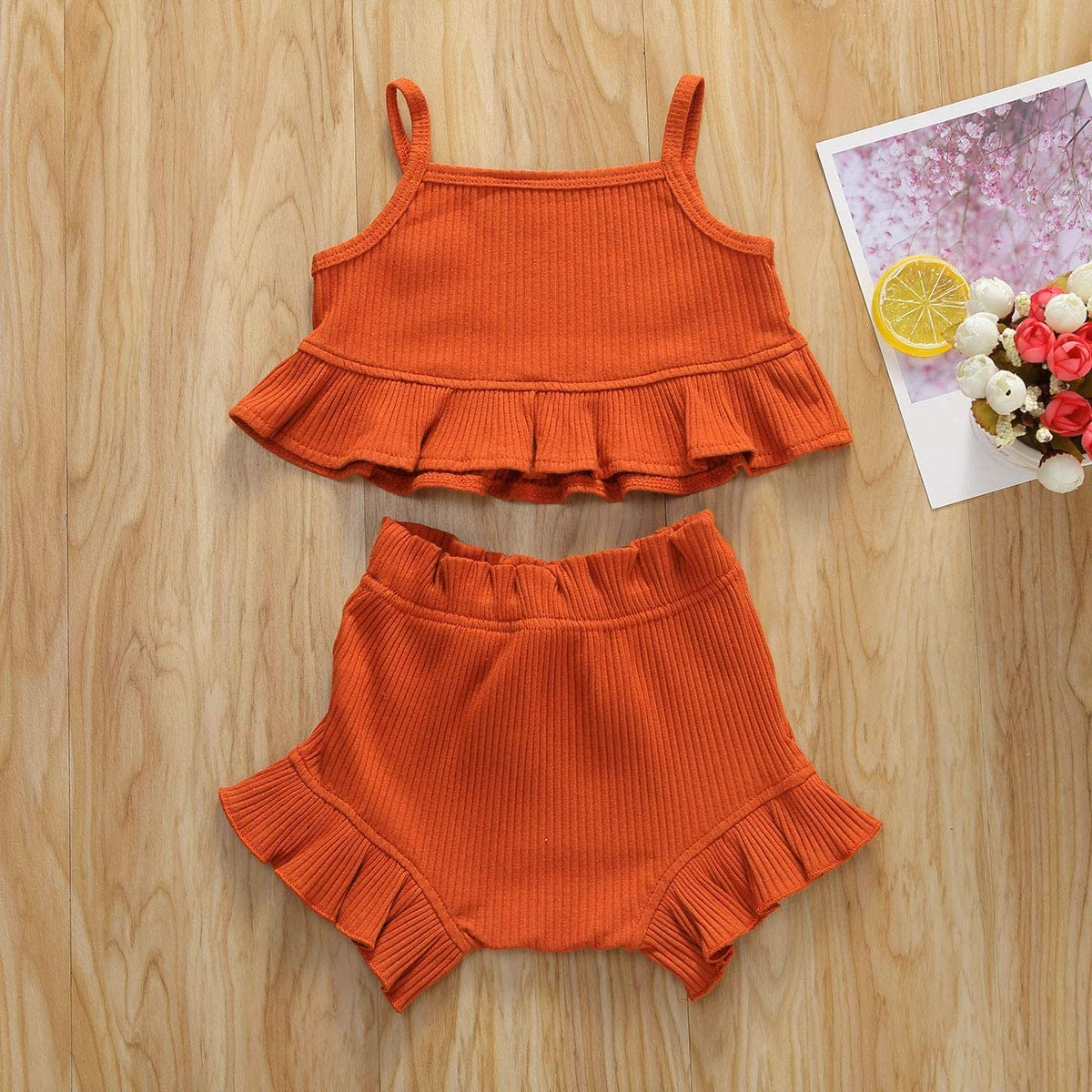Wench Toddler Baby Girls Outfits Clothes Set Knitted Vest Shirt Short Pants Sets Summer Outfit Clothes 2PCS