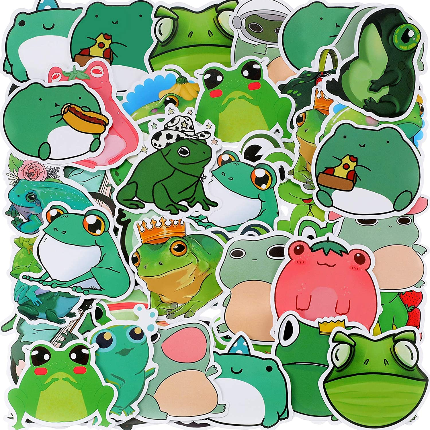 100 Pieces Frog Stickers Vinyl Frog Decals Cute Frog Laptop Stickers Cartoon Frog Waterproof Decorative Stickers for Computer, Luggage, Guitar, Bottle, Refrigerator