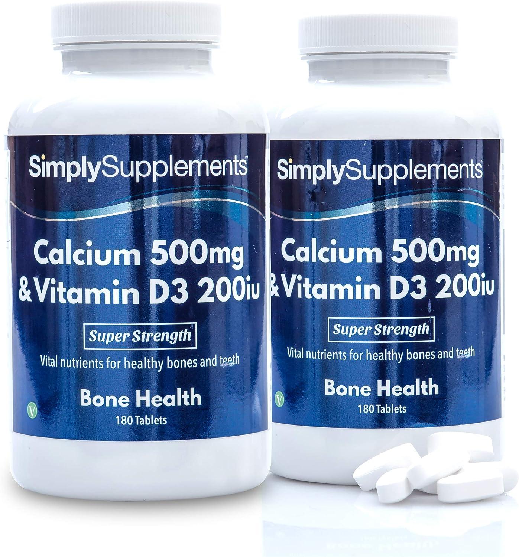 Calcio 500mg y Vitamina D3 200iu - ¡Bote para 1 año! - Apto para vegetarianos - 360 Comprimidos - SimplySupplements