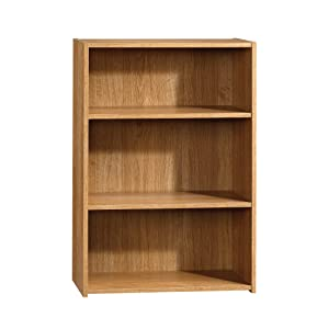 "Sauder 413322 Beginnings 3-Shelf Bookcase, 24.56"" L x 11.45"" W x 35.28"" H, Highland Oak finish"