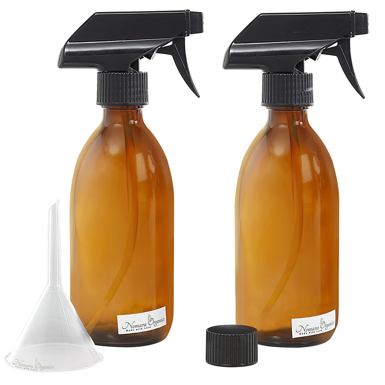 4pc Premium Quality AMBER GLASS SPRAY BOTTLE SET 300 ML by Nomara Organics: A 4pcs set includes: 2 spray bottles with Fine Mist Spray Trigger +1 x BPA Free Transfer Funnel & 1 x Screw cap. Empty, Re-usable Bottles for Organic Beauty/Skin Care Products