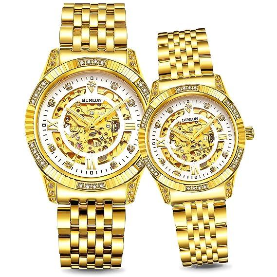 binlun su y para ella Relojes Par bañada en oro 18 K relojes 50 m resistente al agua vestido reloj de lujo.: Amazon.es: Relojes