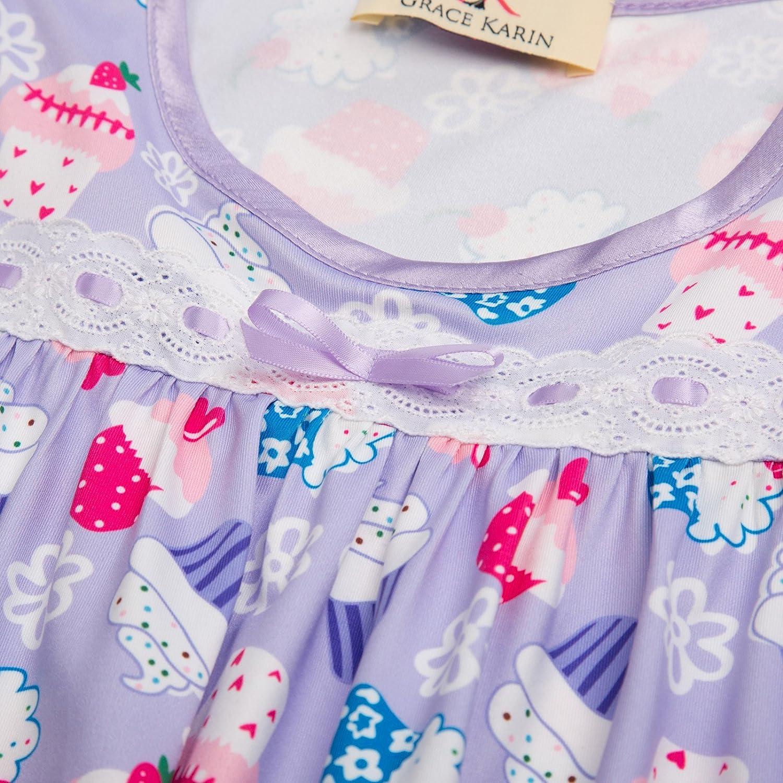 GRACE KARIN Kids Girls Long Sleeve Crew Neck Ruffled Hem Cotton Sleep Dress Nightgown 682/&683