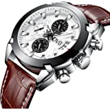 CIVO Men Brown Genuine Leather Chronograph Multifunctional Watch Gents Luxury Business Artistic Wrist Watches Casual Dress Waterproof Date Calendar Analogue Quartz Watch for Men with Withe Dial