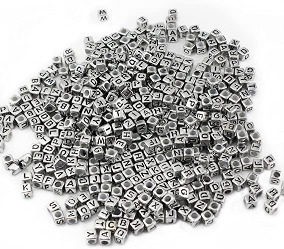 500PCS Wholesale Plastic Alphabet Beads Engrave Letters Jewelry Finding Mixed