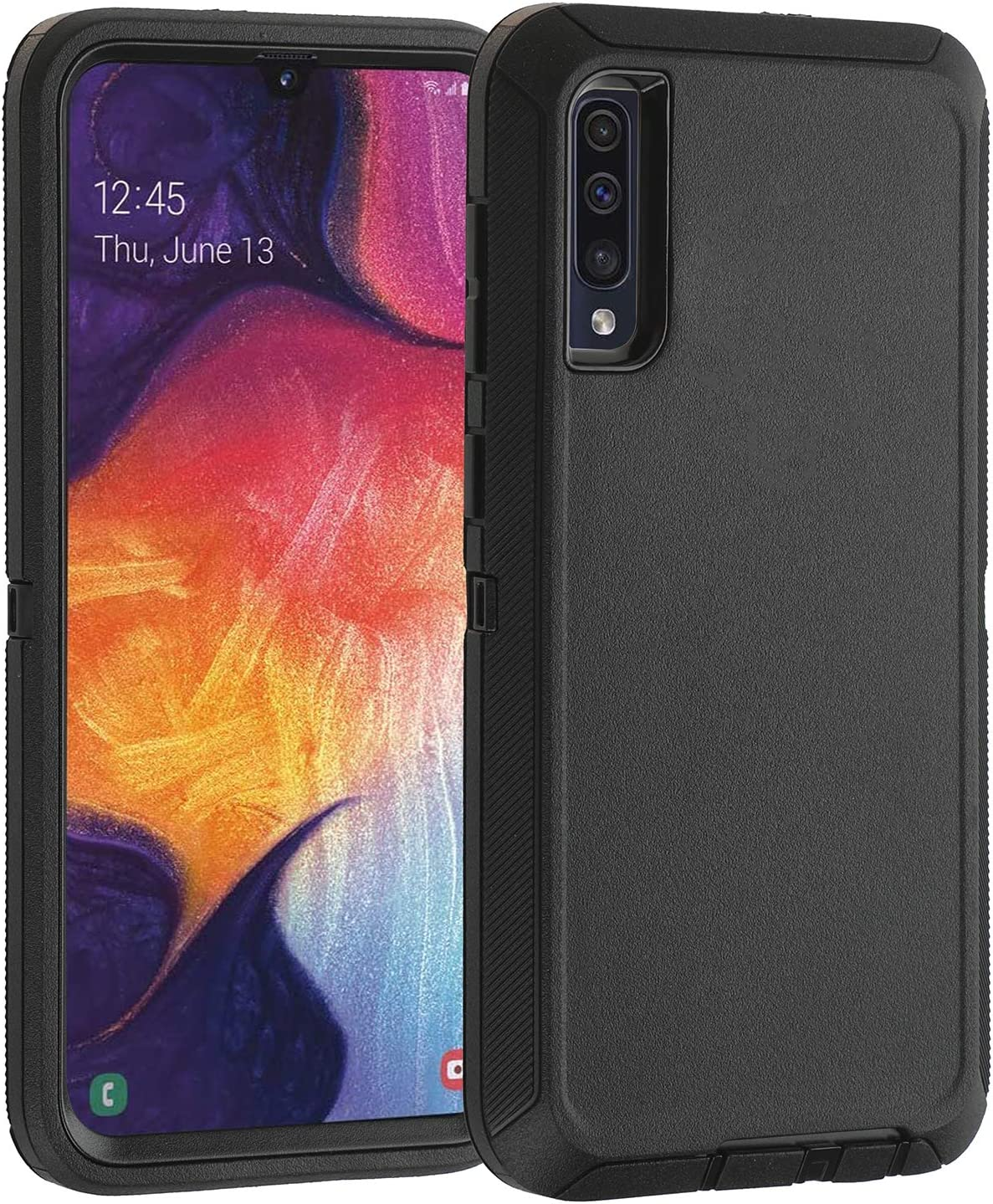 smartelf Compatible with Samsung Galaxy A50 Case A50s Heavy Duty Shockproof Dual Layer Protective Cover Drop Protection Hard Shell-Black