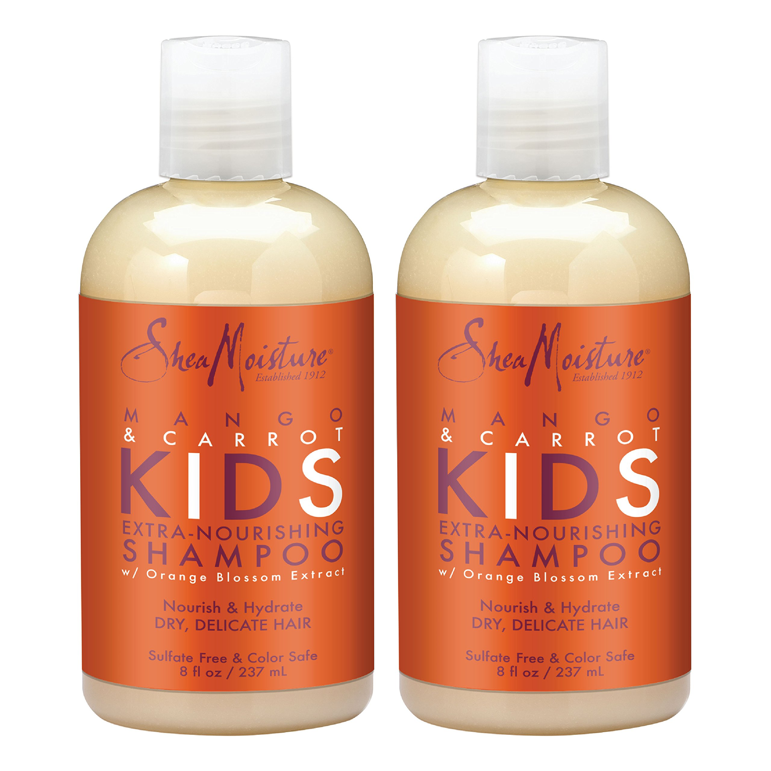 SheaMoisture Mango & Carrot KIDS, Extra-Nourishing Shampoo, Orange Blossom Extract, Dry, Delicate Hair, 8 fl oz, Pack of 2 by Shea Moisture