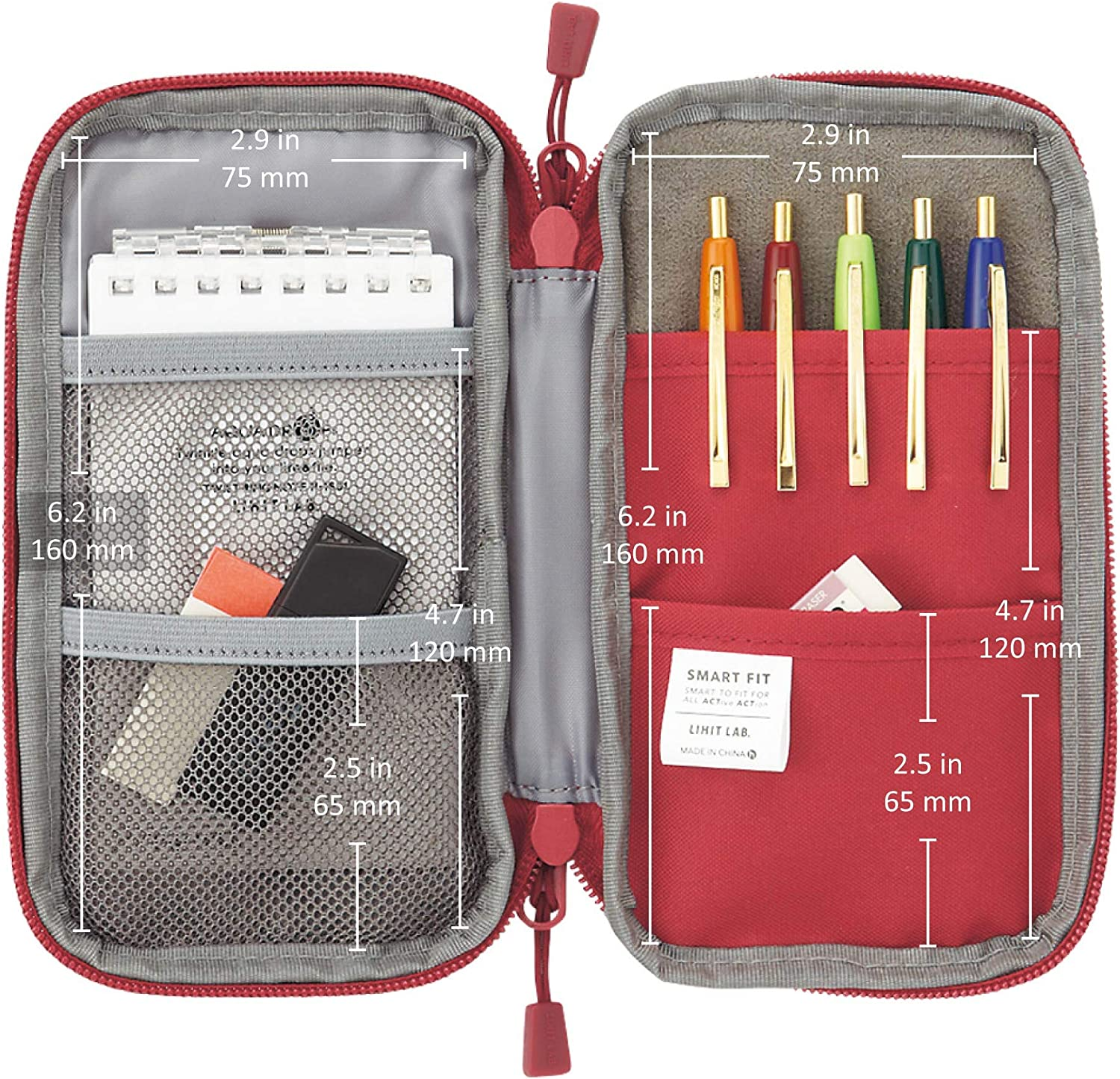 Red Pencil Case Water /& Stain Repellent,3.5 x 6.5 A7687-3 LIHIT LAB Compact Pen Case