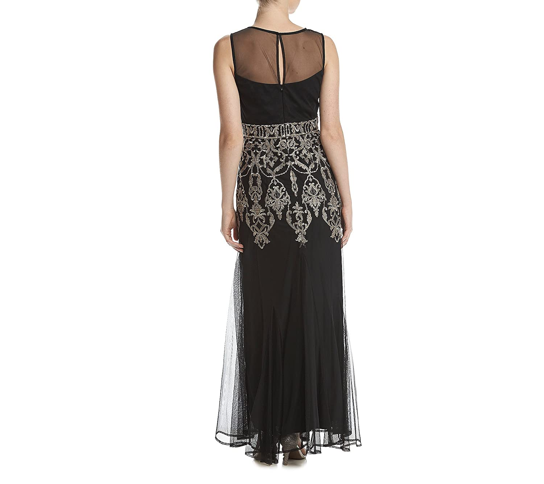 R/&M Richards Womens 1 PCE Metalic Godet Long Dress