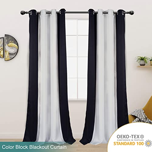 LORDTEX Color Block Blackout Curtains for Bedroom – Insulated Thermal Drapes, Sun Light Blocking Noise Reducing Grommet Window Panels for Living Room, 2 Panels, 50 x 95 Inch, Black Greyish White